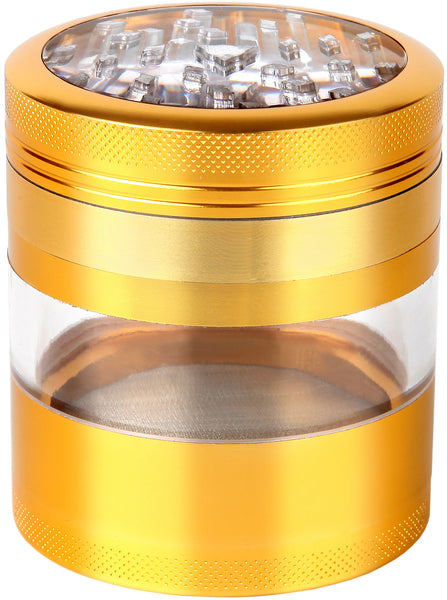 "Large Herb Grinder - Mega Crusher - 2.5"" Clear Top (Gold) , Grinders - Zip Grinders - FA, Zip Grinders  - 1"
