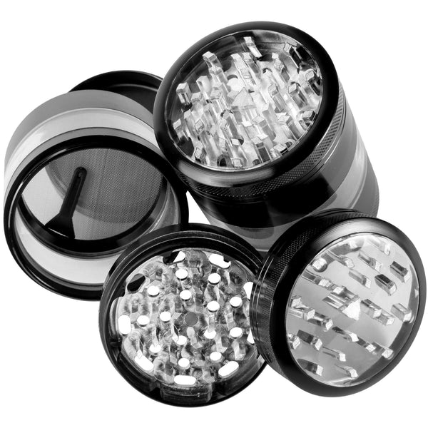 "Large Herb Grinder - Mega Crusher - 2.5"" Clear Top (Black) , Grinders - Zip Grinders - FA, Zip Grinders  - 2"