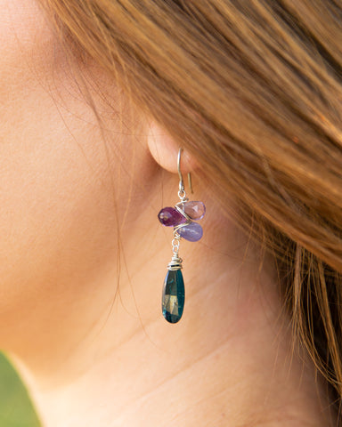 unicorn collection sterling silver earring with kyanite, amethyst, tanzanite, and pink amethyst