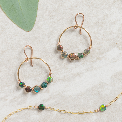 gold hoop earring, rose gold hoop earring with wrapped black opal coins