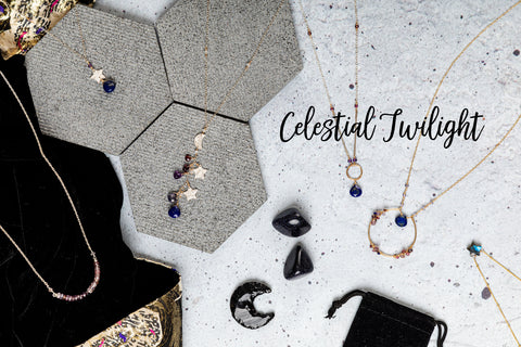 celestial twilight jewelry collection launch image with moons and stars