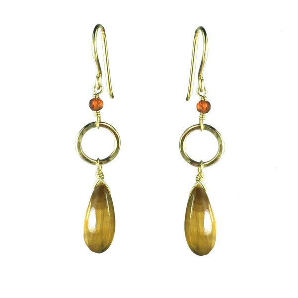 Golden Tiger's Eye Hoop Earring
