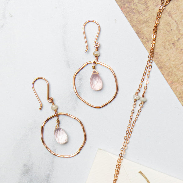 Soft Rose Quartz Hoop Earring
