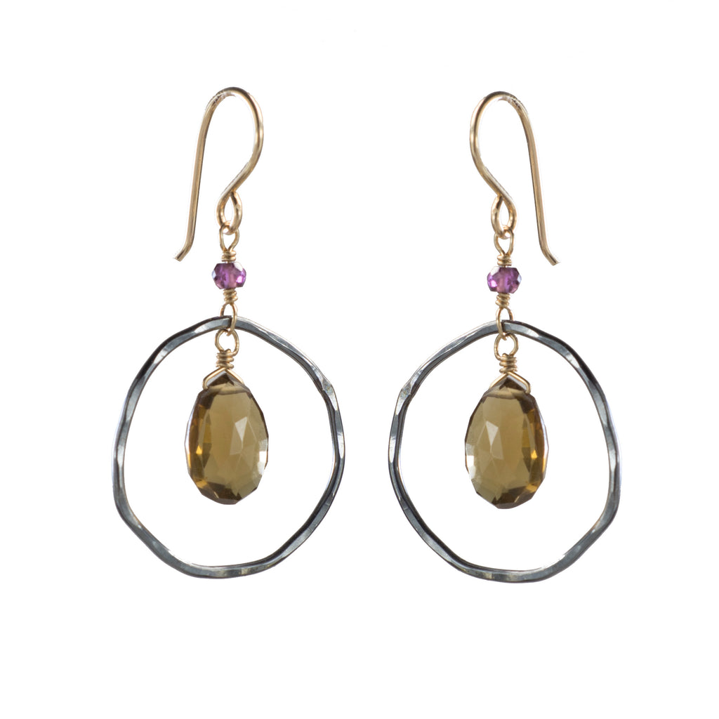Gunmetal Halo Whisky Quartz Earring
