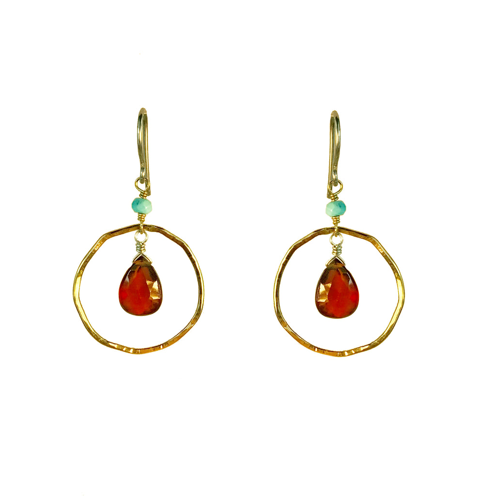 Hessonite Hoop Earring