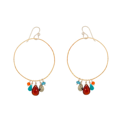 Exaggerated Gemstone Drop Hoop Earring