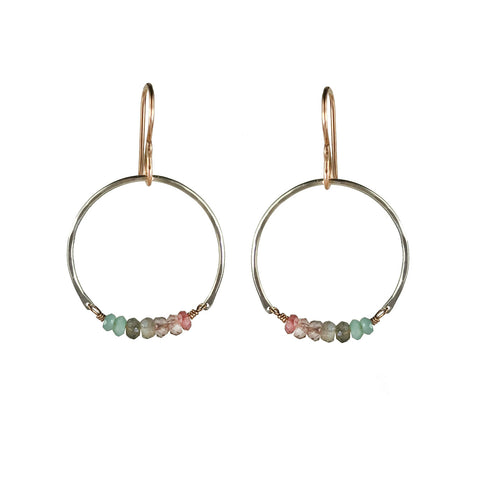 Patched Gemstone Hoop Earring