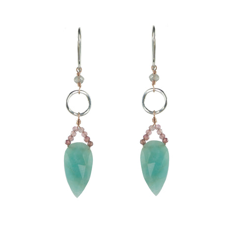 Sterling silver and rose gold hoop earring with amazonite and pink tourmaline