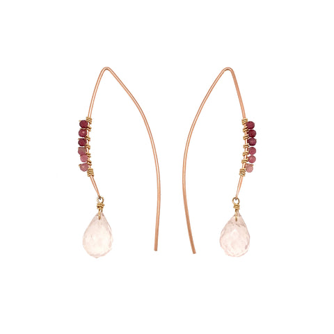 "rose quartz rose gold filled ""V"" shape earring"