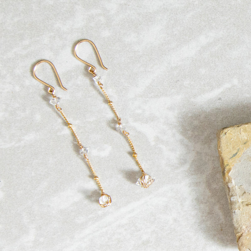 Wrapped Herkimer Chain Earring
