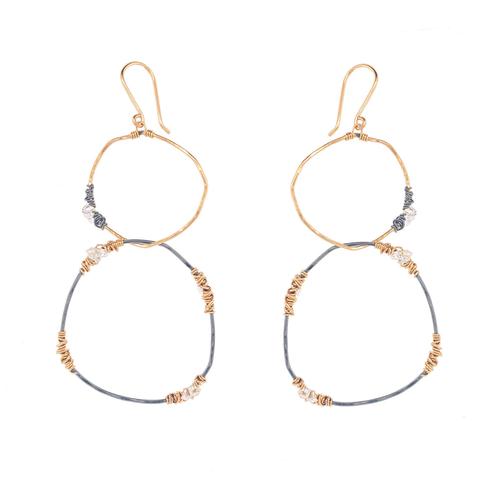 Gunmetal and Gold Linked Hoops Earring