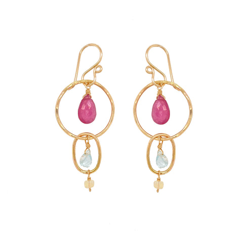 Pink Ruby Hoops Earring