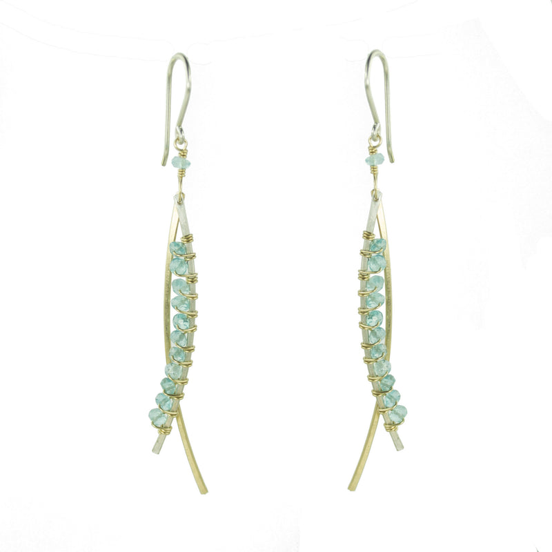 Sterling silver and gold earring with apatite gemstones wrapped asymmetrically