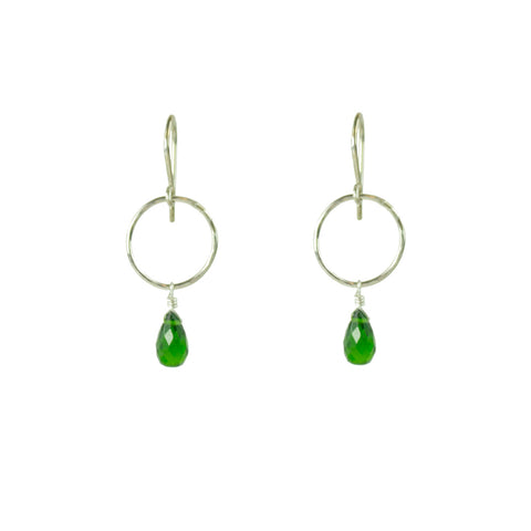 Sleek Silver and Green Hoop Earring