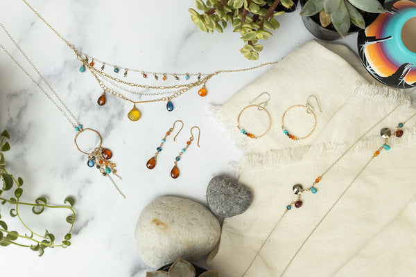 Fox Collection Vannucci ltd jewelry multiple styles laid out with southwestern vibe