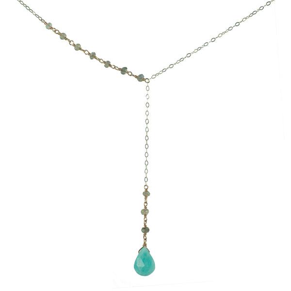 "Sterling silver and rose gold ""Y"" necklace with labradorite and amazonite"
