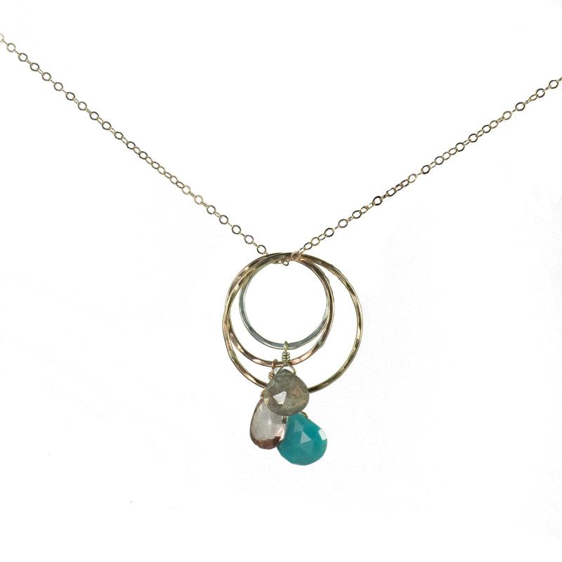 Mixed Metal Hoops Necklace