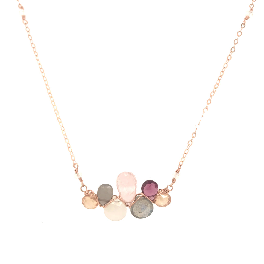 Champagne Woven Gemstones Necklace