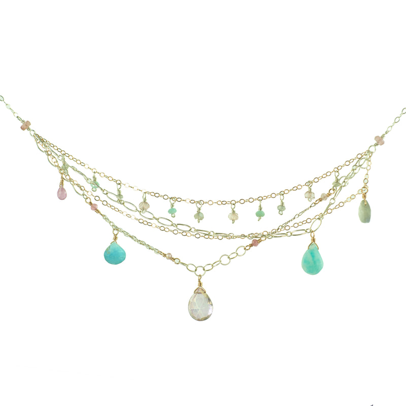 Multitudinous Chain and Gemstone Dreams Necklace