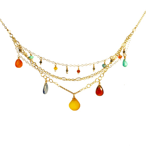 Gemstone drops and multiple chain necklace artisan made professional whimsy