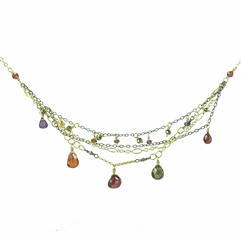 Multitudinous Chain and Gemstone Passion Necklace