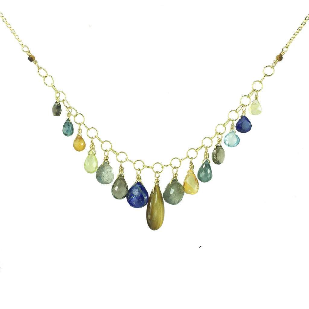Royal Gemstone Droplets Necklace