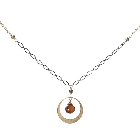 Garnet Disc Necklace