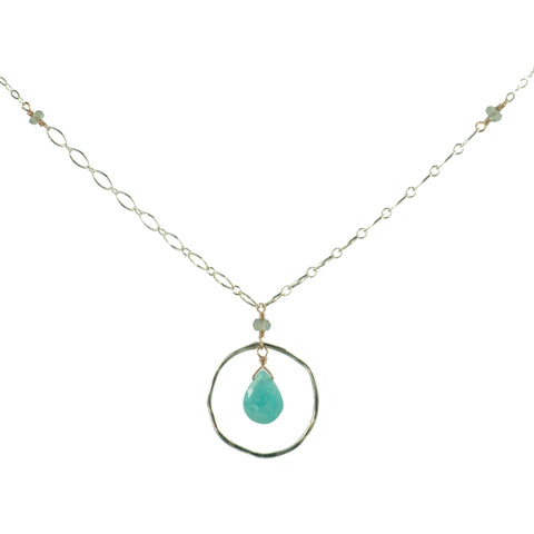 Sterling silver and rose gold pendant necklace with amazonite drop