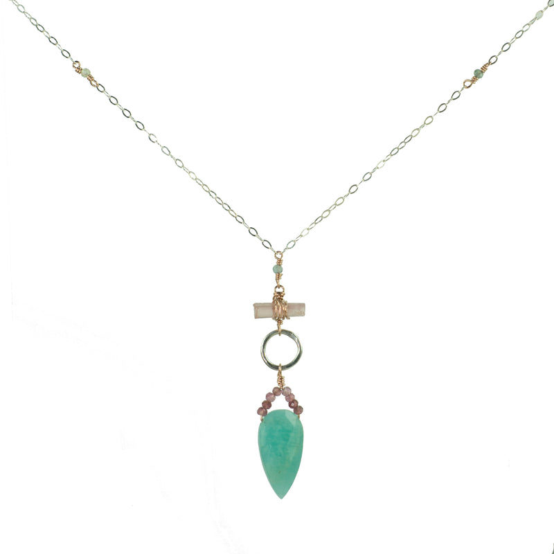 Sterling silver and rose gold pendant necklace with amazonite shield and tourmaline details