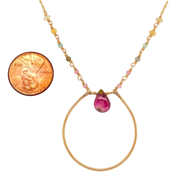 Tourmaline Halo Necklace