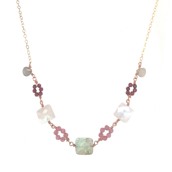 Gemstone links necklace with labradorite, moonstone, rose quartz, and pink tourmaline gemstones in gold and rose gold