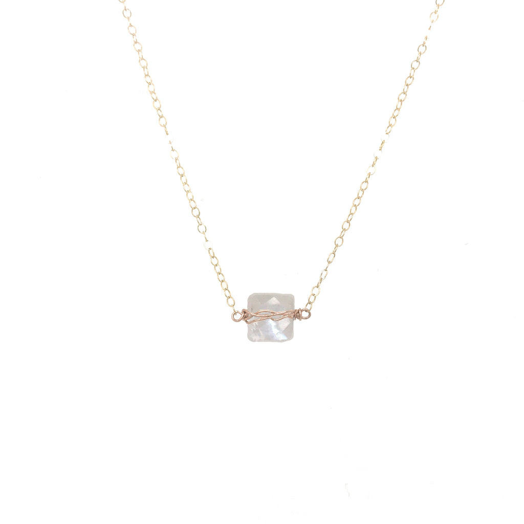 Little Square Moonstone Necklace