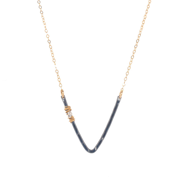 "Herkimer Deep ""V"" Necklace"