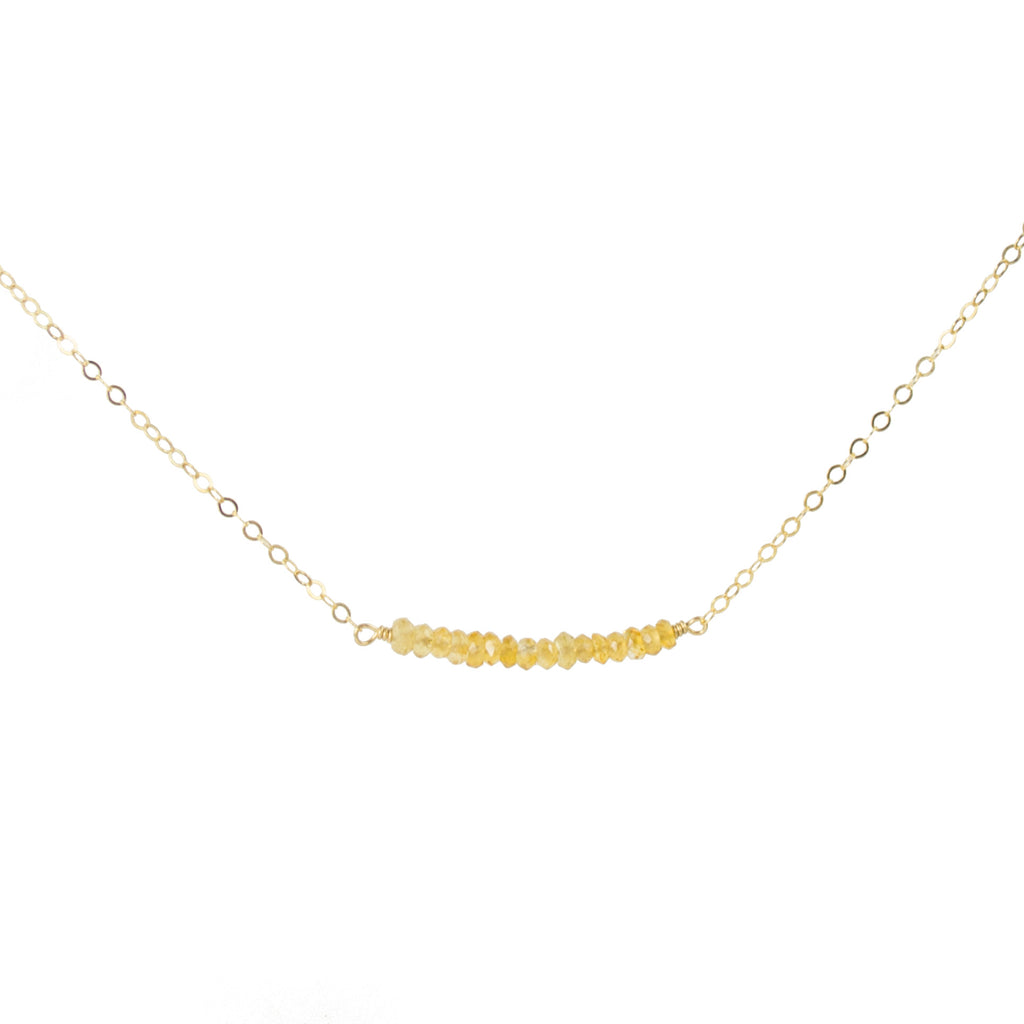 Bar pendant necklace in gold with citrine gemstones november birthstone