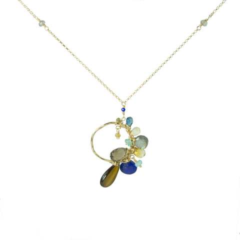 Gem Encrusted Asymmetrical Pendant Necklace
