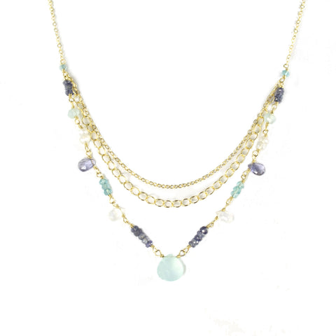 Triple tier gold necklace with chalcedony, iolite, and moonstone gemstones