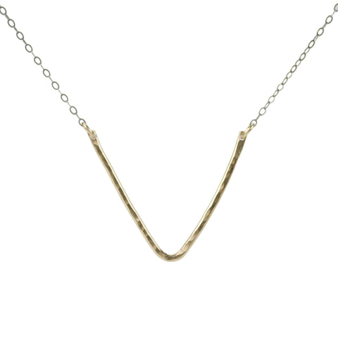 Gold pendant necklace with V shape and sterling silver gunmetal finish chain