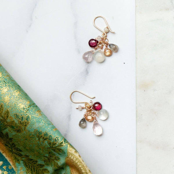 Encompassing Gemstone Drop Earring