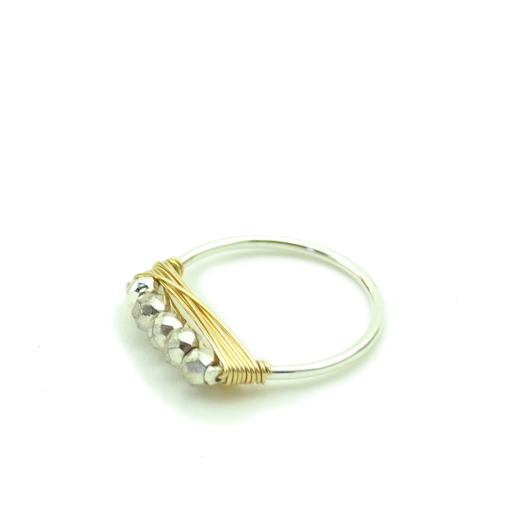 Silver Pyrite Stacking Ring