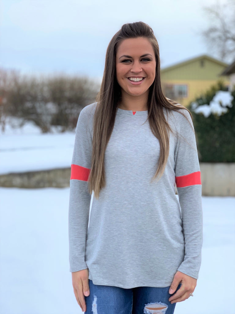 Gray & Coral Long Sleeve Pullover