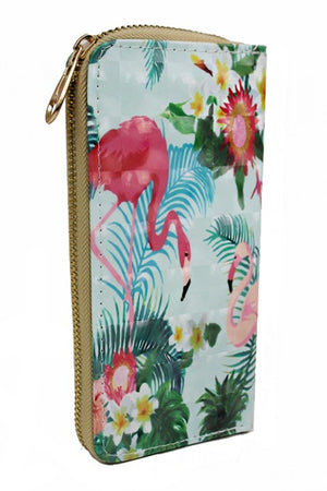 Tropical Pink Flamingo Zip Wallet