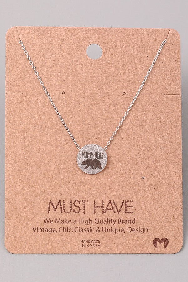 Mama Bear Circle Necklace