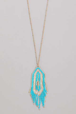 Turquoise & Gold Bead Fringe Necklace