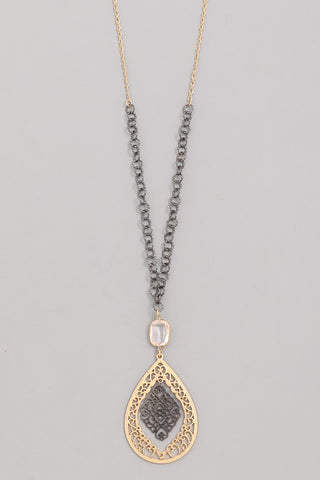 Hematite & Gold Filigree Teardrop Necklace