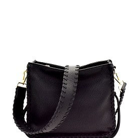 Black Whipstitch Crossbody Bag