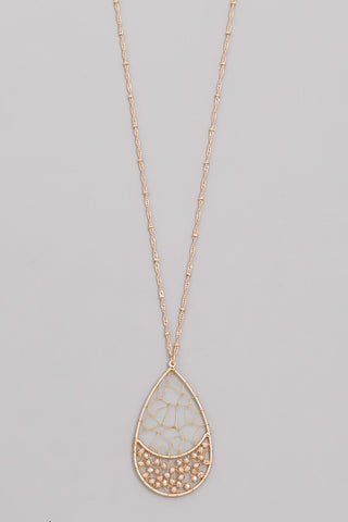 Teardrop Beaded Pendant Necklace