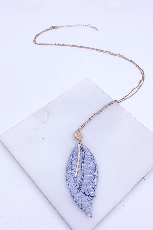 Gray Leather Leaf Pendant Necklace