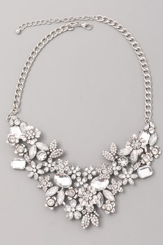 Floral Cluster Bib Necklace