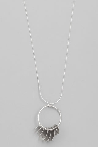 Silver Circle Coin Pendant Necklace