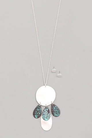 Silver Teal Black Teardrop Pendant Necklace